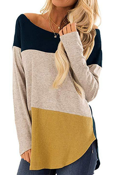 Round Neck Colouring Casual T-Shirt