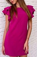 Round Neck  Flounce  Plain  Extra Short Sleeve Casual Dresses