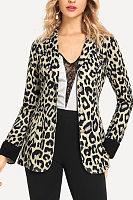 Fold Over Collar  Leopard Printed Blazers