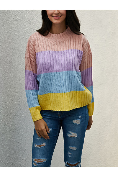 Casual Round Neck  Striped Sweaters