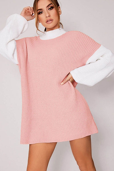 Crew Neck  Patchwork  Long Sleeve Casual Dresses