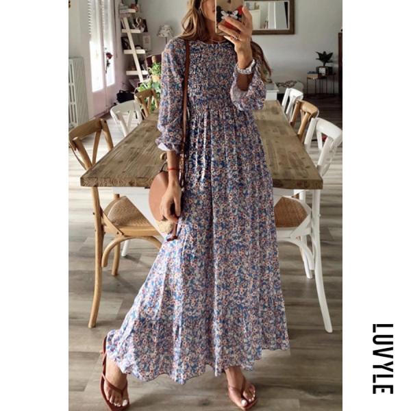 Fashion chiffon one-piece dress summer print