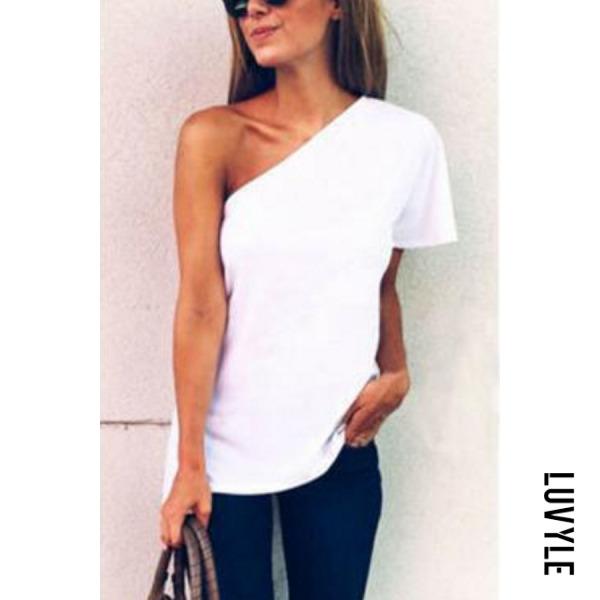 White One Shoulder Plain T-Shirts White One Shoulder Plain T-Shirts