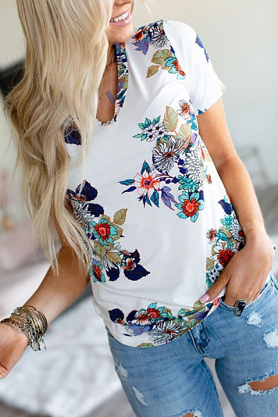 Casual V Neck Floral T-Shirt