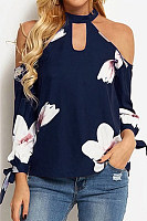 Open Shoulder Collar Floral Blouse