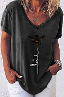 Bee Print Short Sleeve Casual Cotton T-shirt