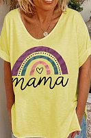 V Neck Short Sleeve Rainbow Graphic T-shirt