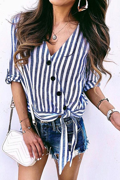 V Neck  Single Breasted  Striped  Blouses