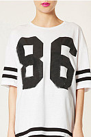 Round Neck  Contrast Stitching  Letters T-Shirts