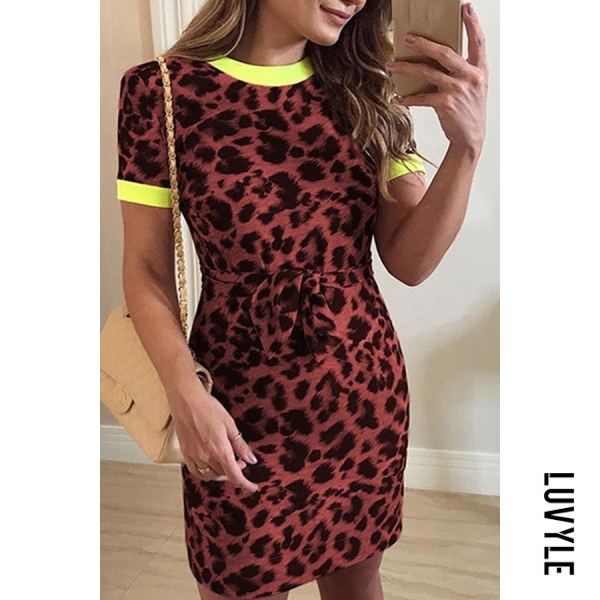 Claret Round Neck Leopard Printed Short Sleeve Bodycon Dresses Claret Round Neck Leopard Printed Short Sleeve Bodycon Dresses