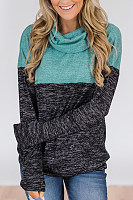 Cowl Neck  Patchwork  Sweatshirts