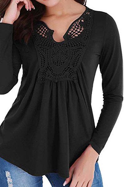 V Neck  Patchwork  Elegant  Lace  Long Sleeve   T-Shirt