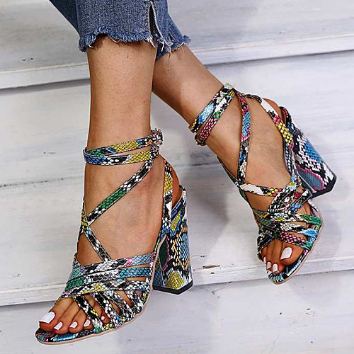 Snakeskin heeled sandals