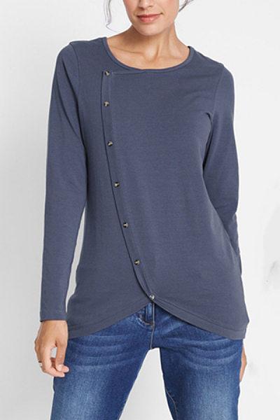 Irregular Hem Buttoned Long Sleeve T-Shirt