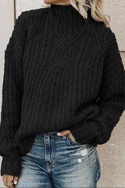 Short High Collar Plain Sweater