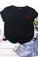 V Neck Print Short Sleeve T-shirt