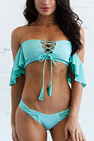 Off Shoulder  Flounce Lace Up  Plain Bikini