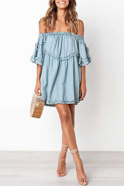 Off Shoulder Half Sleeve Ruffles Casual Dress