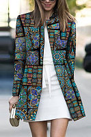 Band Collar  Abstract Print Outerwear