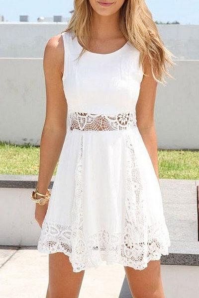 Lace Round Neck Patchwork Sleeveless Skater Dresses
