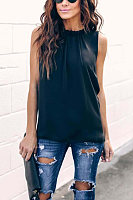 Chiffon Solid Color Sleeveless Blouse