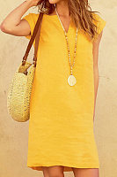 V Neck Plain Casual Dress