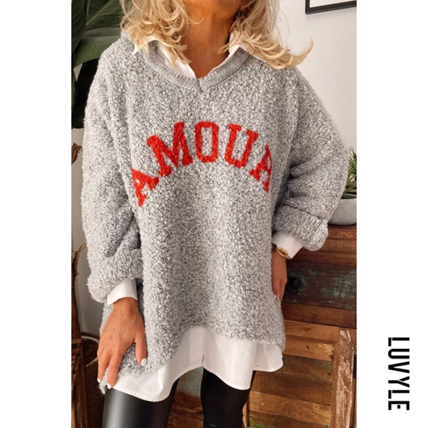 Hooded Letters Plain Casual Sweater