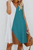 V Neck  Color Block  Sleeveless Casual Dresses