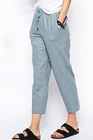 Casual cropped straight-leg pants