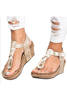 Plain  High Heeled  Ankle Strap  Peep Toe  Casual Wedge Sandals