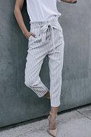 Slim Leg Belt Striped Pants