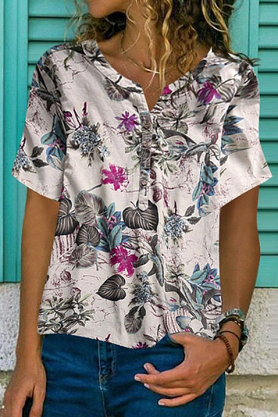 Casual V Neck Short Sleeve Printed Blouse