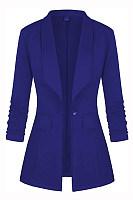 Fold-Over Collar Long Sleeve Plain Blazer