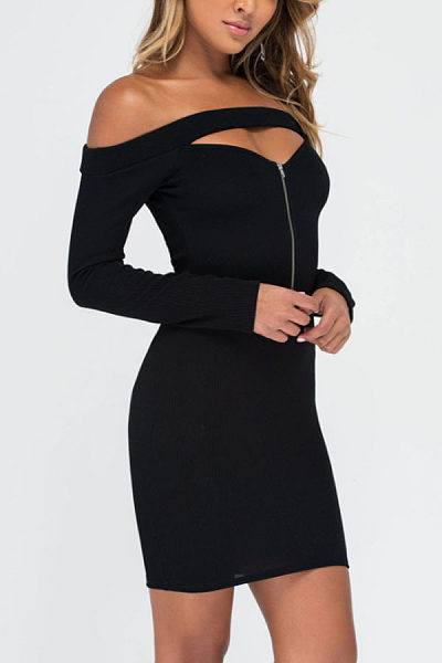 Off Shoulder  Zipper  Plain  Long Sleeve Bodycon Dresses