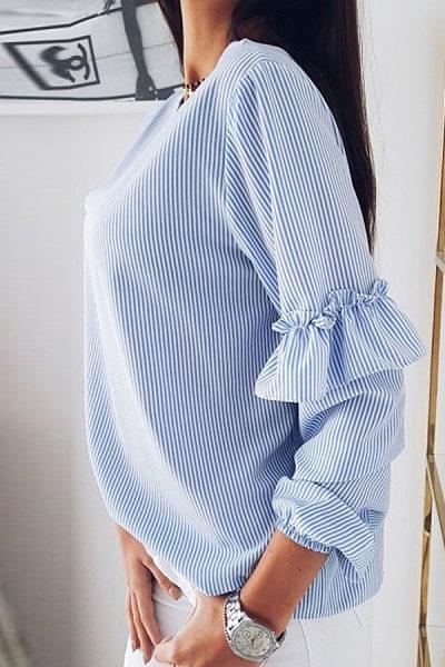 V Neck Long Sleeve Stripes Ruffles Casual Blouses