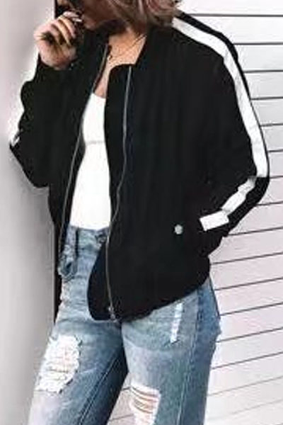 Band Collar Contrast Stitching Jackets