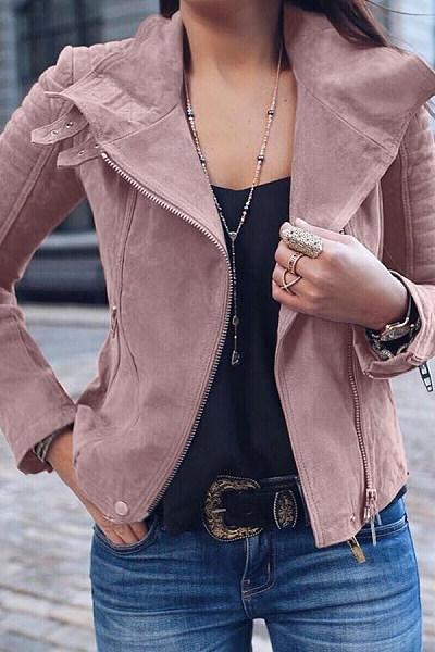 Lapel  Zipper  Plain  Jackets