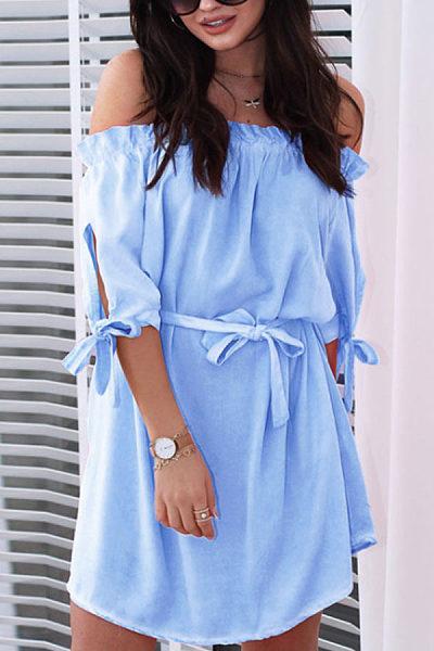 Off Shoulder  Plain  Half Sleeve Casual Dresses