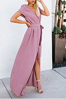 V Neck  Belt  Plain  Short Sleeve Maxi Dresses