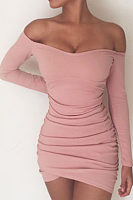 Off Shoulder  Asymmetric Hem  Plain  Long Sleeve Bodycon Dresses