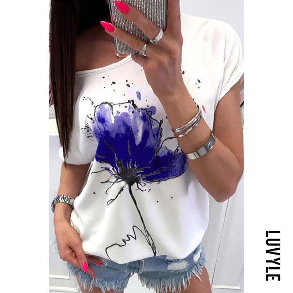 Blue Round Neck Printed Casual T-Shirts Blue Round Neck Printed Casual T-Shirts