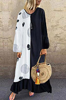 Round Neck Long Sleeve Printed Colouring Maxi Dress