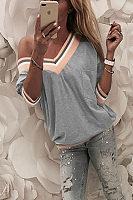 V Neck  Contrast Trim  Color Block T-Shirts