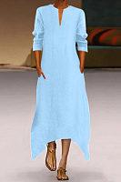 V Neck Long Sleeve Plain Maxi Dress