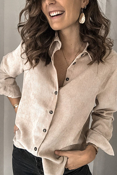 Casual Pure Color Single-Breasted Lapel Shirt BJ31