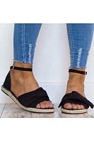 Plain  Flat  Velvet  Ankle Strap  Peep Toe  Casual Date Flat Sandals