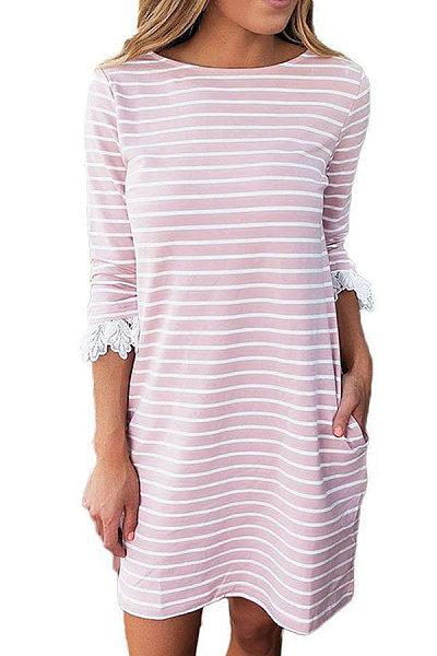 Round Neck  Patchwork  Striped  Three Quarter Sleeve Casual Dresses