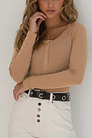 Round Neck  Decorative Buttons  Plain  Long Sleeve Bodysuits