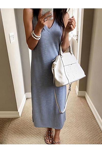 Fashion V Neck Sleeveless Stripe Dress