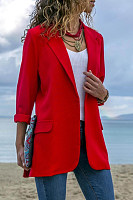 Lapel collar long-sleeved solid color suit